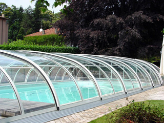 Swimming pool cover UNIVERSE increases temperature of water in your pool - opened