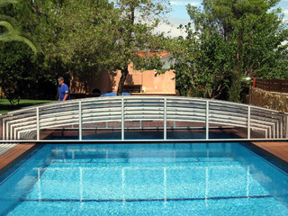 Silver frame of inground pool enclosure VIVA