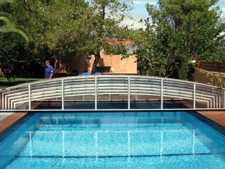 Silver frame of inground pool enclosure VIVA