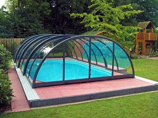 Retractable swimming pool enclosure Tropea anthracite finish