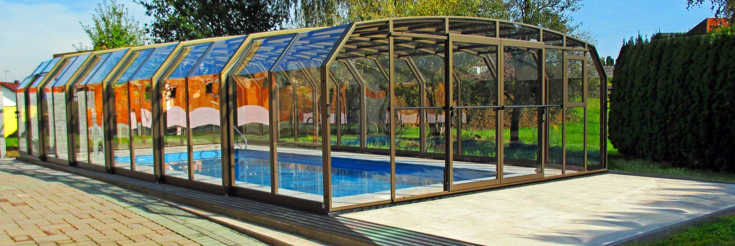 High line retractable pool enclosures and pool covers sunrooms Retractable swimming pool enclosures