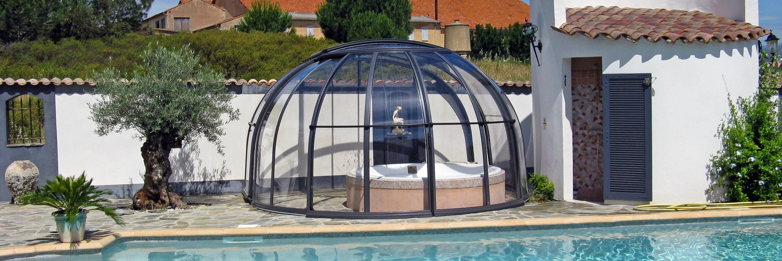 Opened retractable hot tub enclosure Oasis