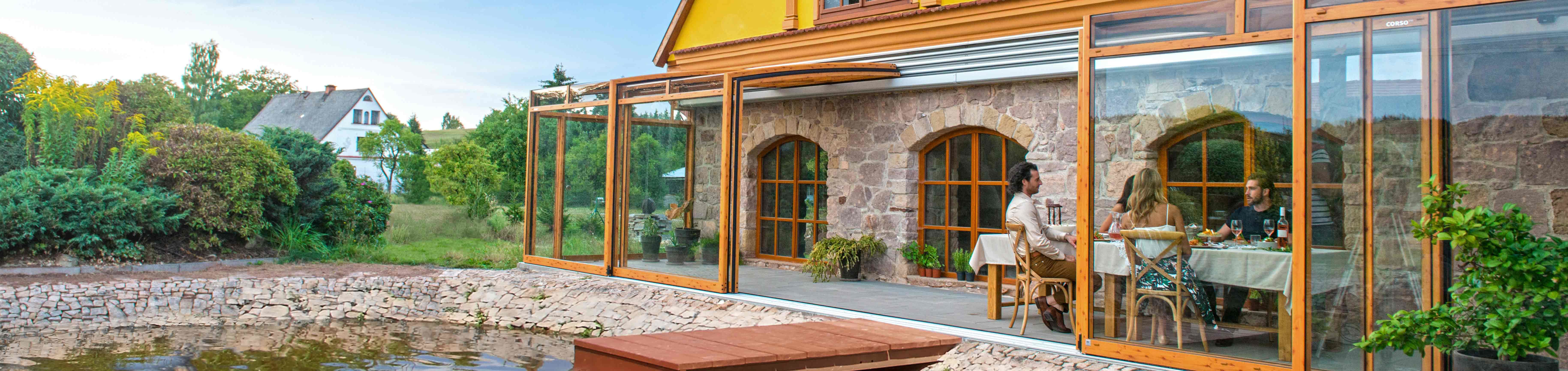 Marvelous Opened Retractable Patio Enclosure CORSO Premium ...