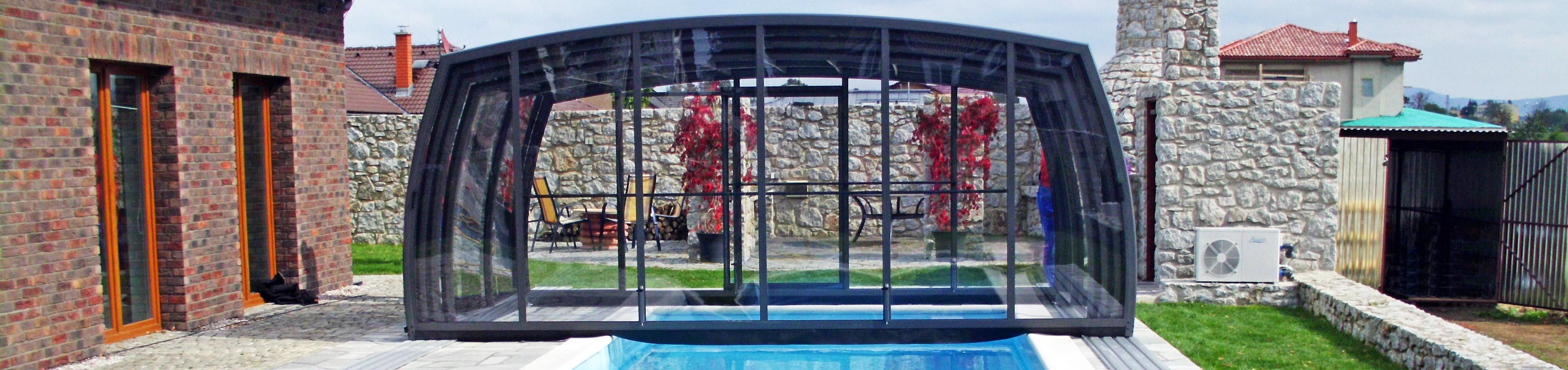Opened Swimming Pool enclosure Omega