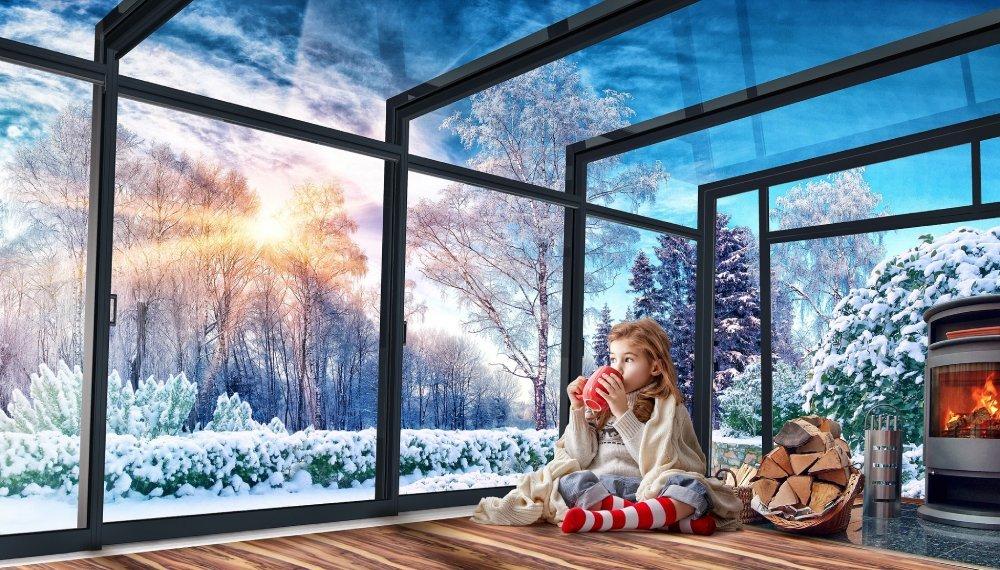 Patio enclosure Corso Ultima in winter
