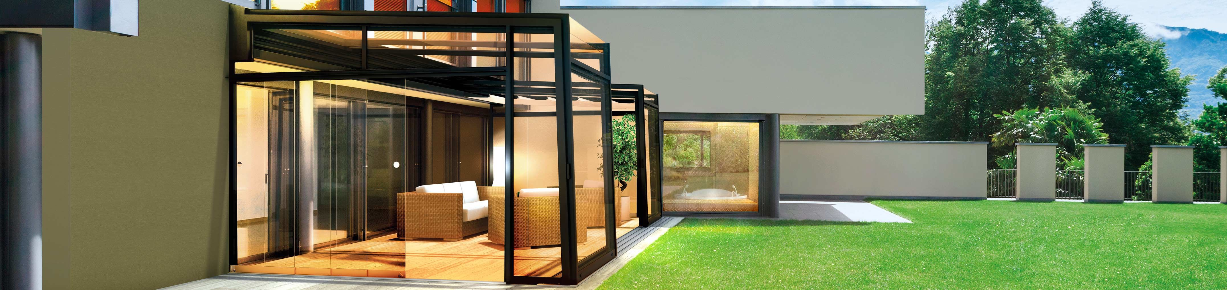 Semi-opened retractable patio enclosure CORSO Ultima