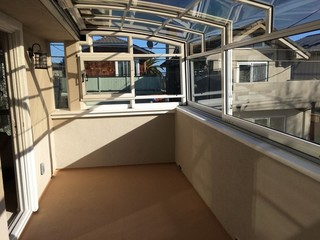 A look from inside of new sunroom  patio enclosure CORSO Premium