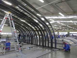 A sneak-peak from our factory where we produce pool, spa and patio enclosures