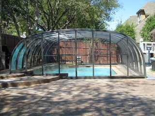 Atypical pool enclosure Laguna over steps - custom made pool enclosure