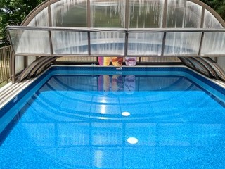 Combined pool enclosure - installed on wooden deck