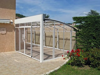 Corso patio enclosure with white frames