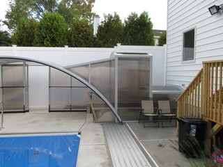 Custom made pool enclosure with tunnel to a basement