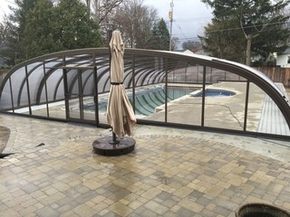 Custom made pool enclosure with large aluminum segments