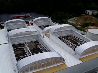 Four motorized roof top enclosures - enormous installation