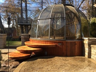 Fresh installation of hot tub enclosure Spa Dome Orlando