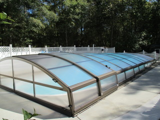 Fresh installation of pool enclosure Imperia