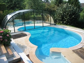 Fully opened retractable pool enclosure Laguna