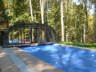 Fully opened retractable pool enclosure Laguna