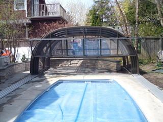 Fully retractable pool enclosure Laguna from Pool and Spa Enclosures USA