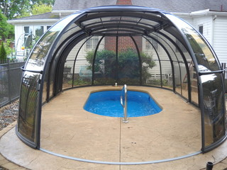 Hot tub enclosure Spa Sunhouse can cover an inground pool too