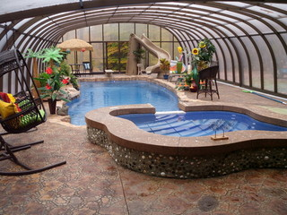 Inside of pool enclosure Laguna - a nice inhabitated pool enclosure