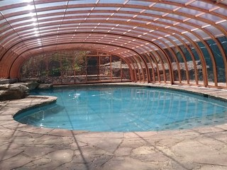 Inside of spacious swimming pool enclosure Laguna
