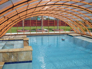 Inside Pool enclosure Universe from Pool and Spa Enclosures LLC