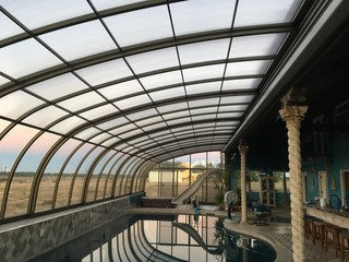 Inside space of pool and patio enclosure Style