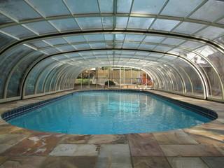 Look from inside of huge pool enclosure Laguna