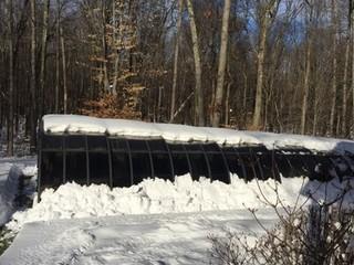 Melting snow on pool enclosure Laguna