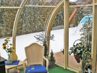 Opened Patio Enclosure CORSO Entry with white frames and polycarbonate filling