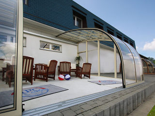 Look inside Patio enclosure CORSO Entry - this enclosure can also cover your pool