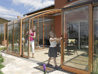 Patio enclosure CORSO Premium - wood-like finish on aluminum frames