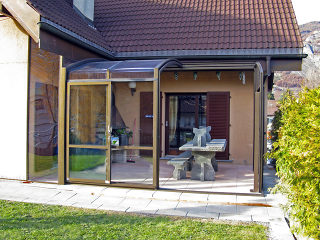 Retractable patio cover CORSO Premium by Pool and Spa Enclosures LLC - open