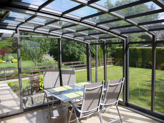 Patio enclosure CORSO Premium - anthracite color - nice comfy sitting under enclosure