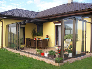 In winter terrace enclosure CORSO Premium can be used as storage for patio furniture