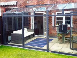 Patio enclosure CORSO Premium in cobalt blue - the best sunroom idea !