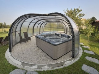 Pool and patio enclosure Olympic - can cover your hot tub and pool together