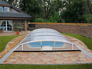 Swimming pool enclosure ELEGANT in silver