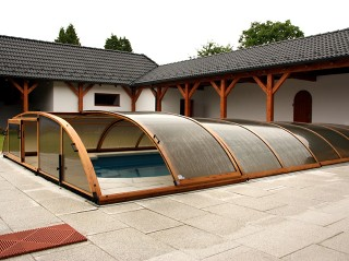 Pool enclosure Elegant NEO wood imitation