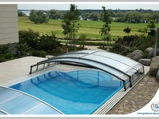 Pool Enclosure Imperia - low line pool cover - semi-opened