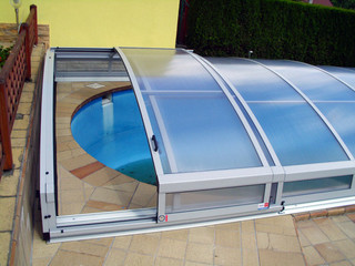Swimming pool enclosure IMPERIA with white frames