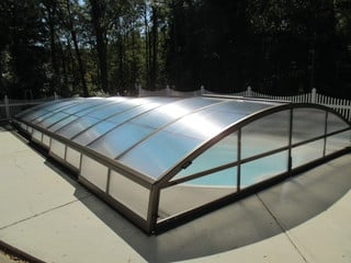 Pool enclosure Imperia with dark anthracite aluminum frames