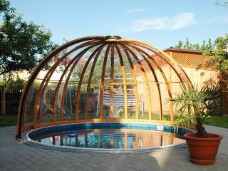 Inground pool enclosure ORIENT with wood-like finish