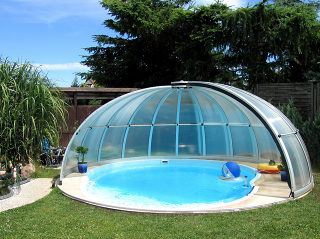 Retractable pool enclosure ORIENT - anthracite
