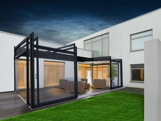 Retractable patio enclosure Ultima in favorite anthrcite color