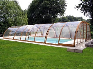 Swimming pool enclosure TROPEA - wood-like finish