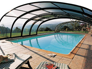 Inground pool enclosure TROPEA semi-open with a view