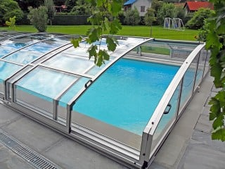 Retractable swimming pool enclosure Imperia in silver color