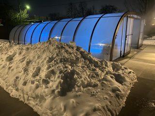 Sanders pool in winter at night
